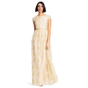 Adrianna Papell Floral Gold Lace Prom Maxi Dress